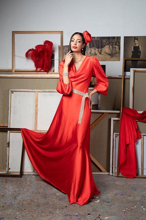 שמלת המשי קורל ארוכה