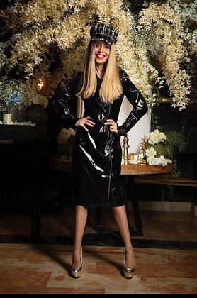 שמלת ניילון שחורה עם רוכסן בקדימה-מוסקינו