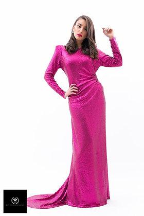 שמלת פאייט פוקסיה ארוכה עם שובל , השכרה: 750, קנייה:1500