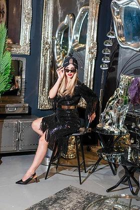 שמלת נצנץ פרנזים שחורה