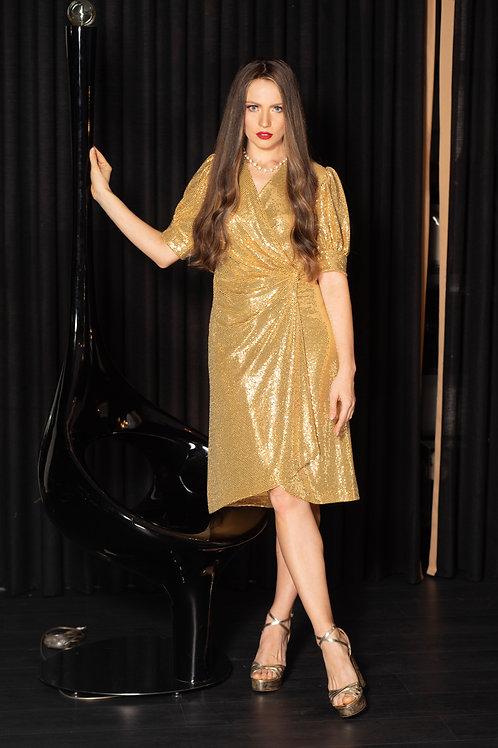 שמלת זהב פאייט קצרה מעטפת