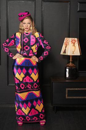 שמלת קטיפה סגול ורוד גיאומטרי