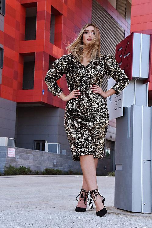שמלת נצנץ זהב קצרה
