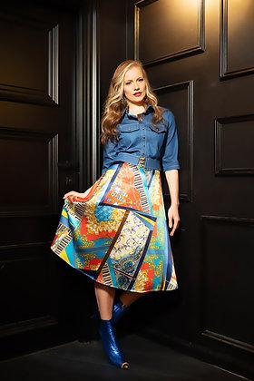שמלת גינס וארסצה  ( חצאית ארוכה) אדום כחול