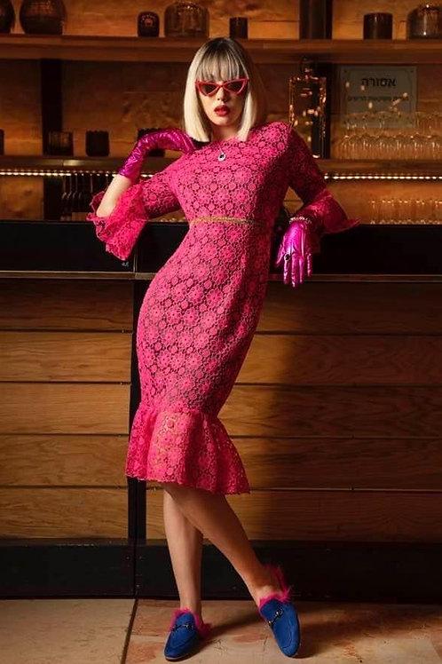 שמלת תחרה ורודה קצרה+מלמלה