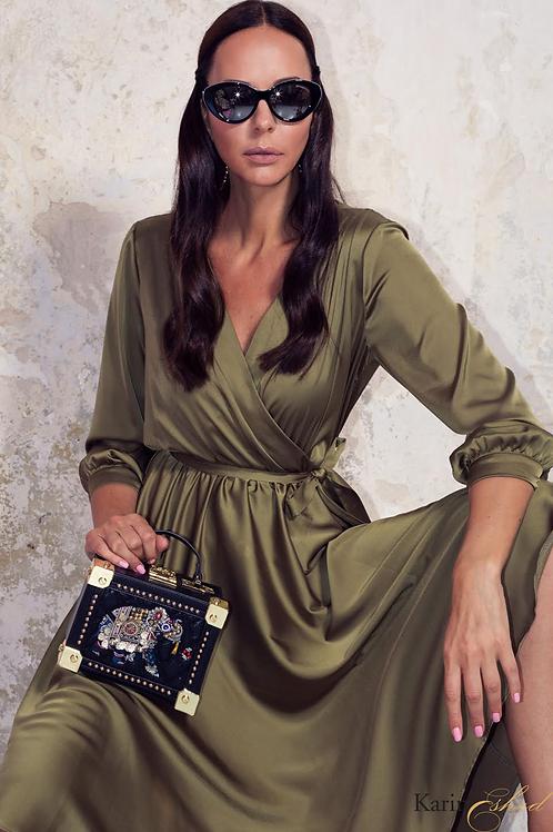 שמלת משי ירוקה