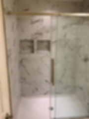 Bathroom remodel with full shower tiling