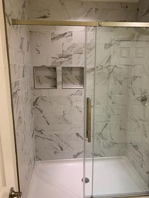 Bathroom remodel with full shower tiling