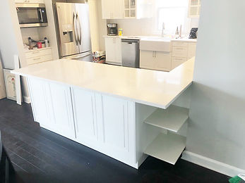 Custom built cabinets on a kitchen remodeling job