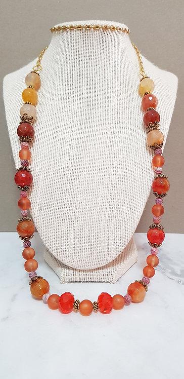 Orange agate chain necklace