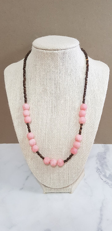 Stone and wood necklace