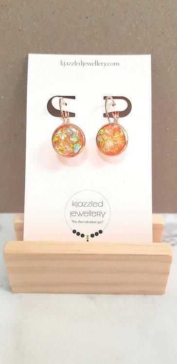 Orange resin leverback earrings