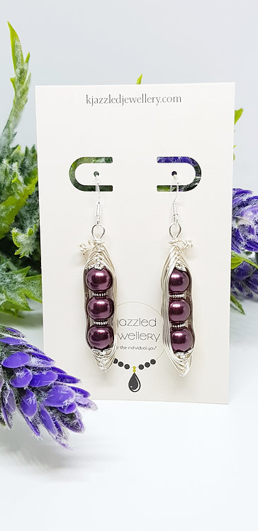 Peapod earrings (in eggplant)