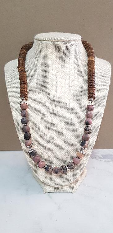 Rhodonite & coconut shell necklace