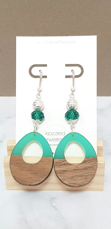 Green resin & wooden earrings