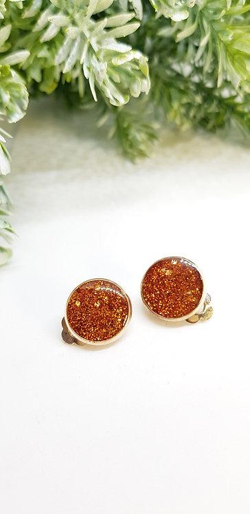 Bronze clip on earrings