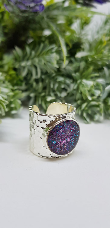 Silver cuff ring (purple, blue, pink, green)