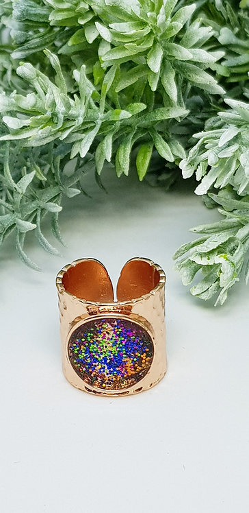Rose gold cuff ring (green, gold, magenta, blue)