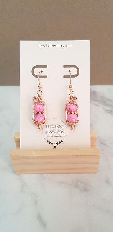 Pink peapod earrings (rose gold)