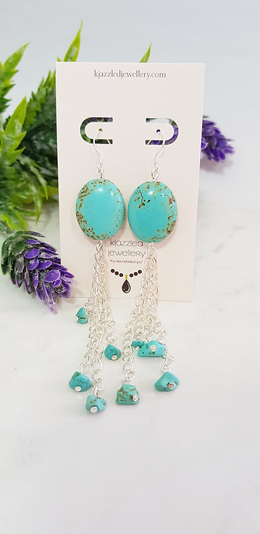Turquoise chain tassels