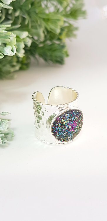 Silver cuff ring (yellow, blue, magenta)