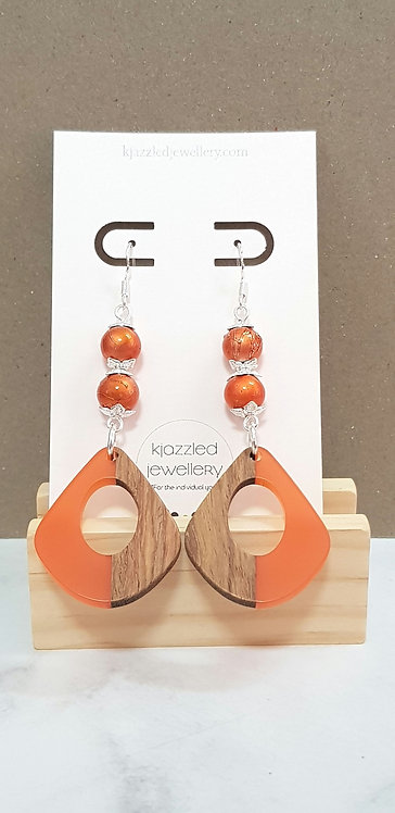 Orange resin & wood earrings