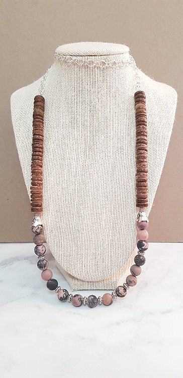 Rhodonite & coconut shell necklace (with chain)