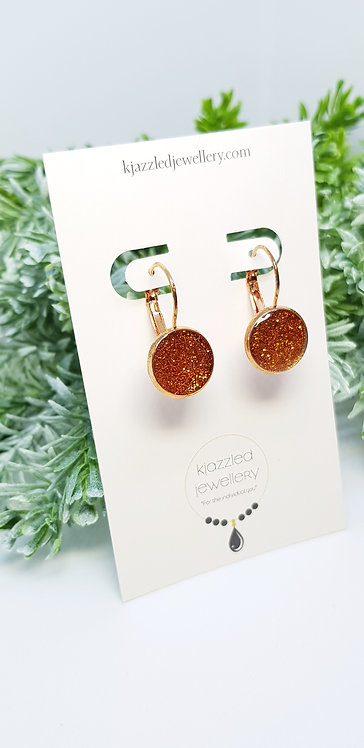 Bronze leverback earrings
