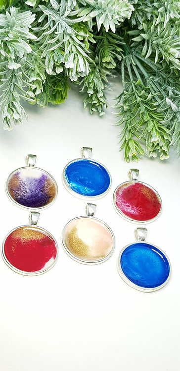 Resin art pendants