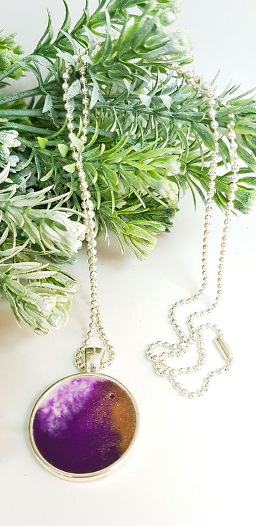 Purple resin necklace