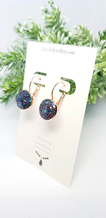 Opal style 12mm resin earrings
