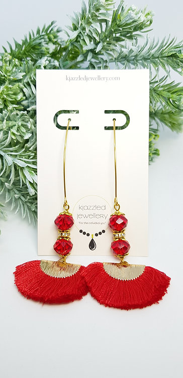Red tassel earrings (hypo-allergenic)