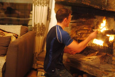 Open fire fireplace