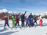 Family Group skiing