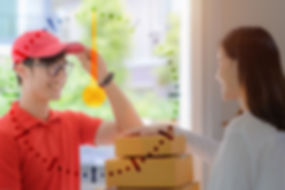 deliveryman attending to pickup parcel p