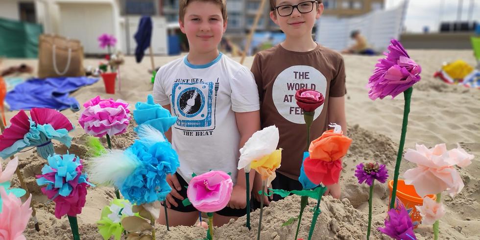 Papieren strandbloemen knutselen