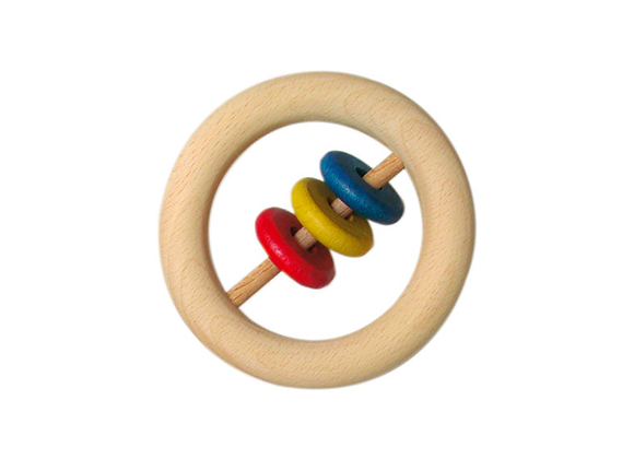 Wooden Rattle with 3 Slices