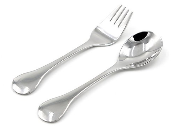 Stainless Steel Toddler Fork and Spoon Set