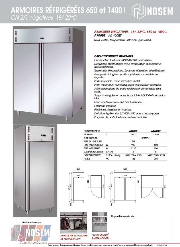 Armoire inox double ou simple porte