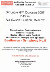 Charity concert poster I organised for the Musicans Benevolent Fund and The Royal Society of Musicians