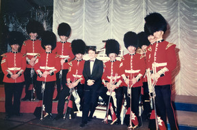 Coldstream Guards Fanfare Team at Thursford with Phil Kelsall