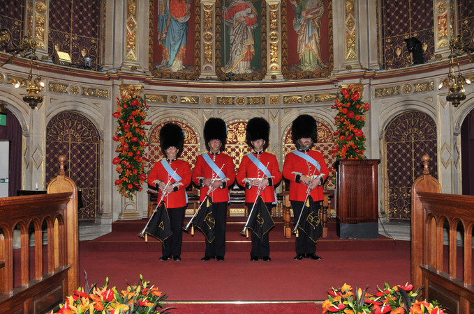 Publicity shots of London Heritage Brass Fanfare Team at the Royal Holloway College
