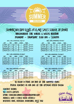 Holiday Club Timetable - Summer 2018