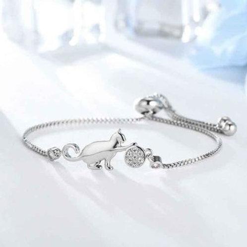 Bracelet Chat et Balle Argent