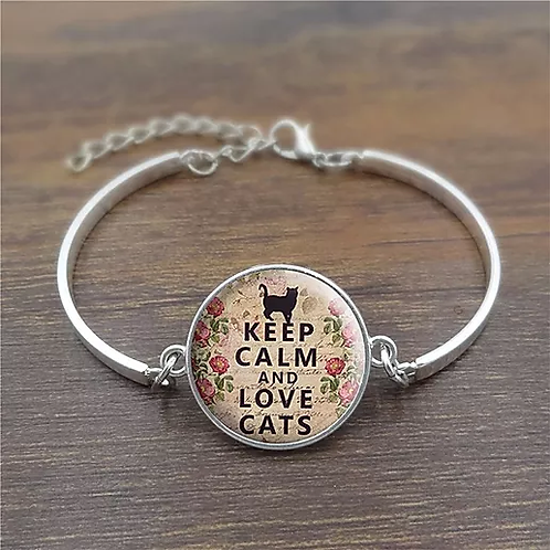 """Bracelet """"Keep calm and love cats """""""