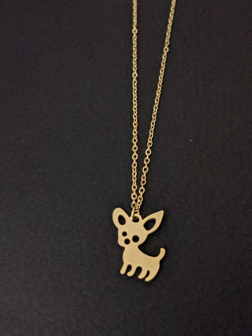 Collier Chihuahua Or (Personnalisable)
