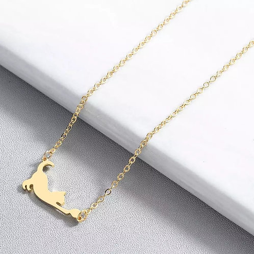 Collier Chat et Balle Or