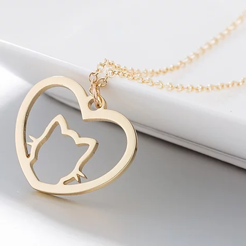 Collier Chat Coeur Or