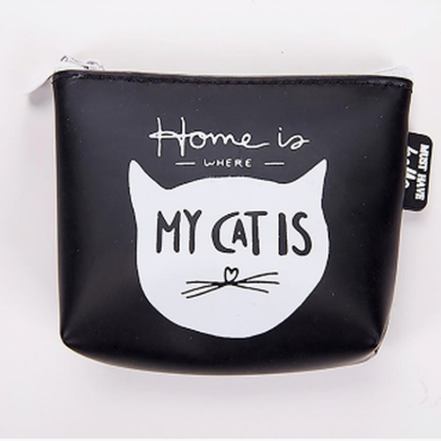 "Porte-monnaie Chat "" Home is where my cat is"""