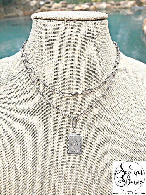 """Double Strand Silver Paper Clip Link"" Necklace"